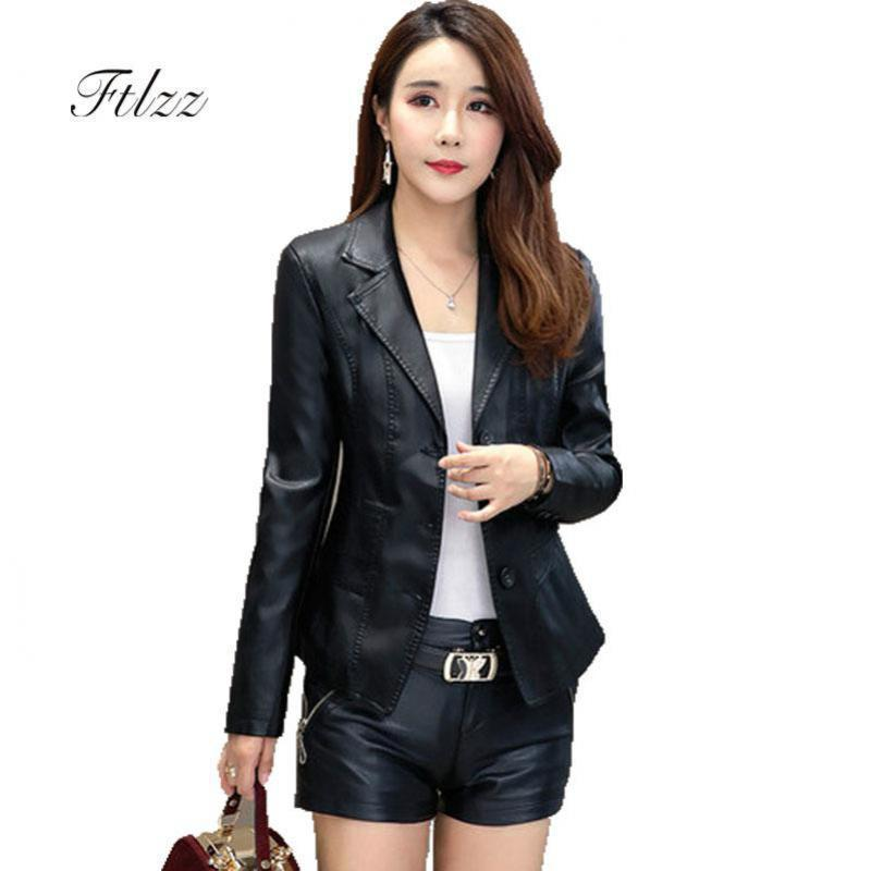 Faux   Leather   Jacket Women New 2018 Spring Autumn Long Sleeve Slim Black Jackets Casacos Feminino Ladies Plus Size Biker Coats
