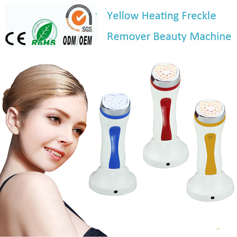 Portable Heating Amber Red Blue Photon Light Therapy Skin Lift Firming Machine Led Treatment Wrinkle Freckle Acne Removal Device bio wave red blue yellow green led photon light skin therapy whitening tightening acne treatment facial beauty massager machine