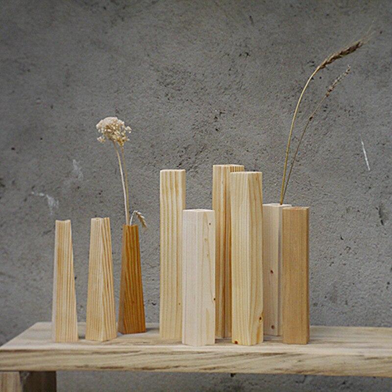 Современные Стиль краткое Дизайн деревянная ваза прямоугольник эко нет Краски натурального дерева цветы ваза ZAKKA Стиль дома/офиса Декор по...