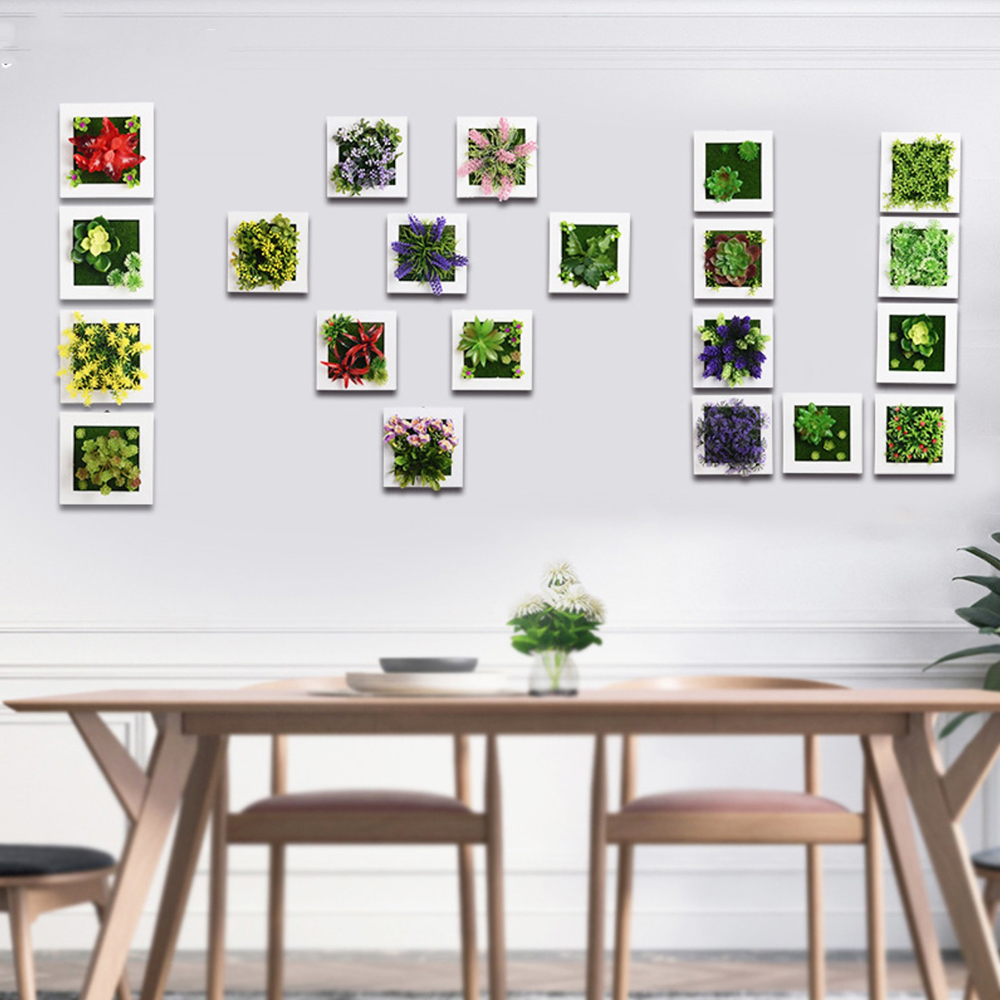 Creative 3D Metope Artificial Plants Frame for Wall Decor Fake ...