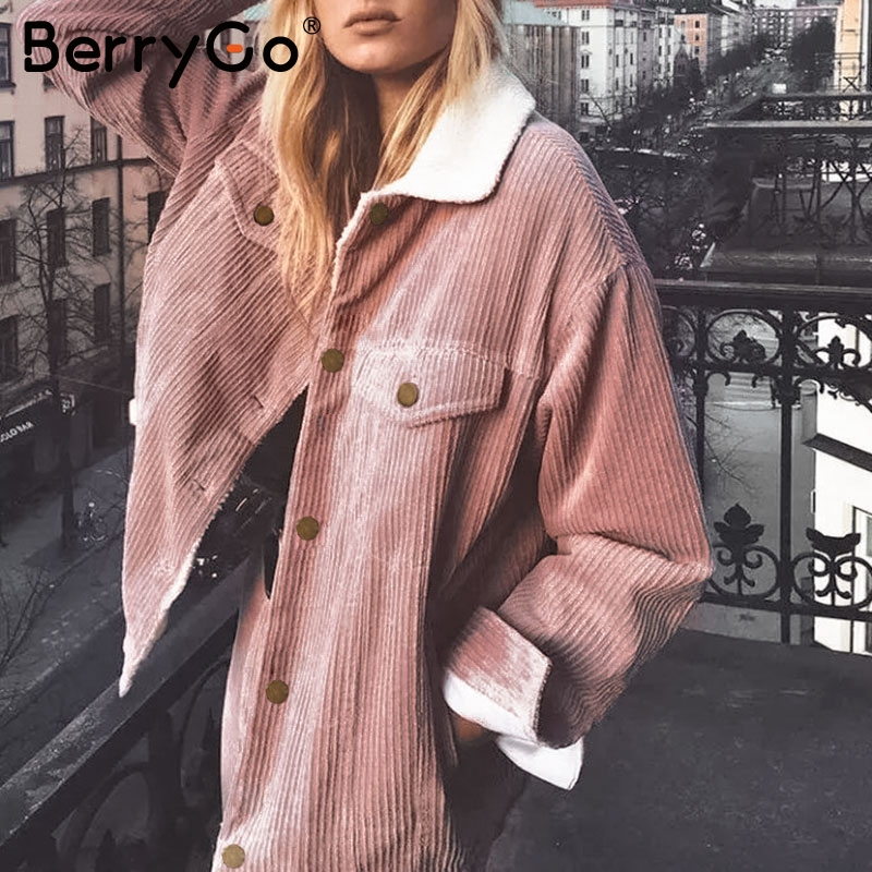 BerryGo Corduroy winter jacket coat women Long sleeve casual lambswool jackets female Warm   parka   chic ladies outwear coats 2019