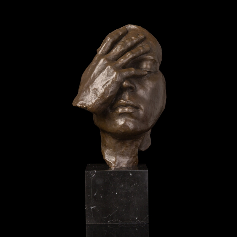 ATLIE Bronzes Antique Statue Abstract Human Face Thinking Bronze - Dekorace interiéru