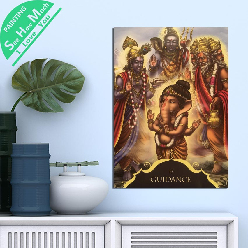 1 шт. Будда Ганеша руководство 33 HD Печать холст стены искусства плакаты и принты плакат живопись художественное произведение в рамке украше