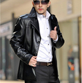 2017 autumn black Single breasted leather jacket mens PU leather jackets and coats middle long slim male coat large size 4XL