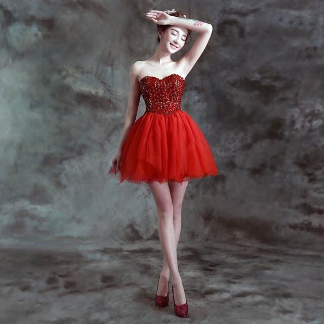 fca925136ca zkc uncle 18-25 years old red strapless off shoulder crystal lace ball gown  lace up Cocktail Dresses.028