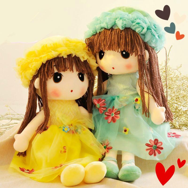 Big Size Elsa Plush Stuffed Brinquedos Lovely Cartoon Flower Fairy Doll Toys For Girls Birthday Christmas Gift Fashion Doll