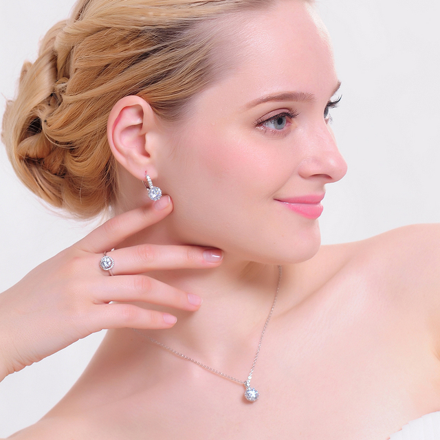Luxury Classical Women Designer Jewelry Set of Round Necklace/Earring/Ring
