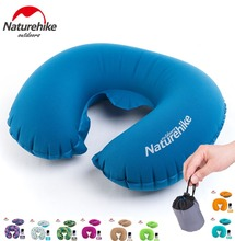 Naturehike factory Portable U Shape Inflatable Pillow Travel Inflatable Cushion Soft Neck Protective HeadRest Plane Pillow