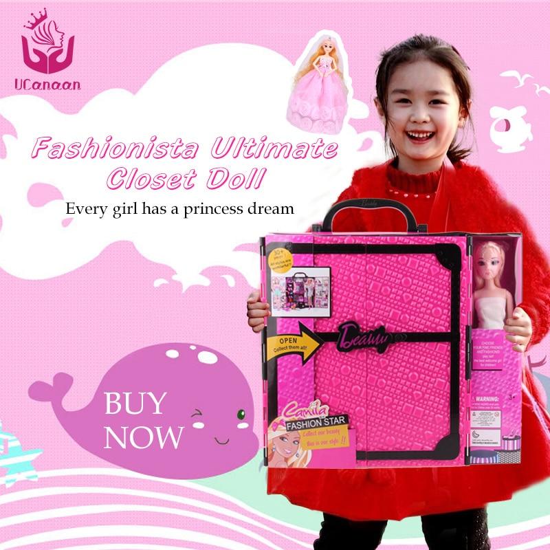 UCanaan Fashionista ultime placard poupée mode princesse jouets avec vêtements robe garde-robe poupée cadeau ensemble pour les enfants