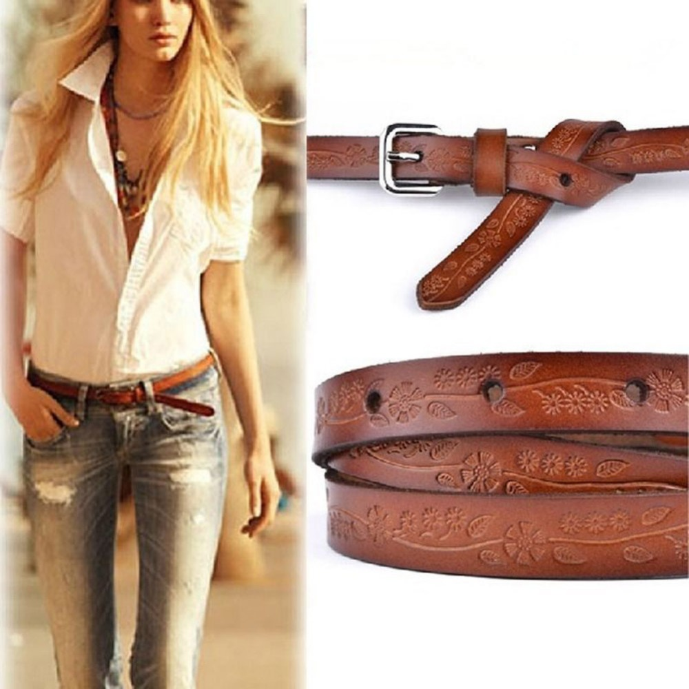 Woman Print Floral Leather Belts Genuine Leather Belt Buckle Pin Buckle Female Vintage Waistband Jeans Sash Belt Strap Gift
