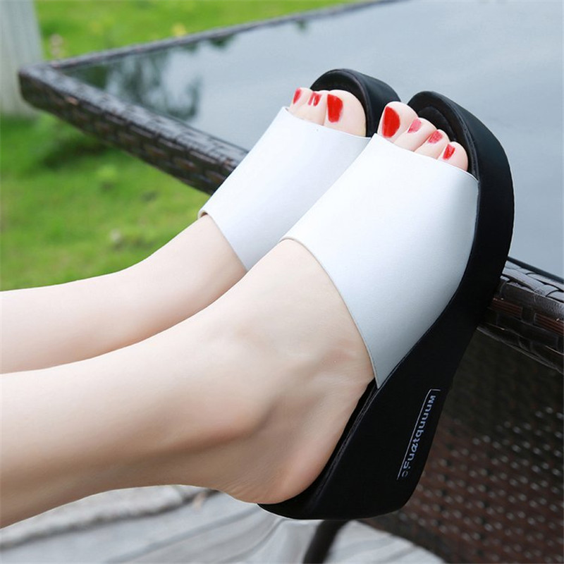 2018 Hot Summer Women Sandals Leather Peep Toe women Shoes Woman Flip Flops Wedges Fashion Platform Female Slides Ladies Shoes 32 43 big size summer woman platform sandals fashion women soft leather casual silver gold gladiator wedges women shoes h19