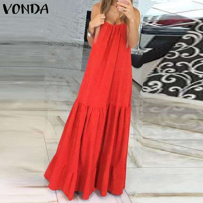 VONDA Bohemian Dress Women 19 Summer Sexy Sleeveless Spaghetti Strap Ruffle Swings Maxi Long Dresses Holiday Vestido Plus Size 10