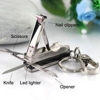 Scissors Nail Clippers LED Light Keychain Key Ring Knife Bottle Opener Multifunctional Key Chain Key Holder