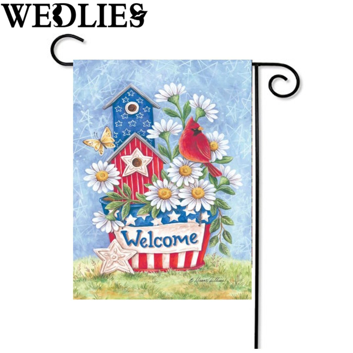 Blossom Daisies Flag Patriotic Cardinal Welcome Home Garden Flag Banner  Accessories Home Garden Decorative Craftwork 12.5