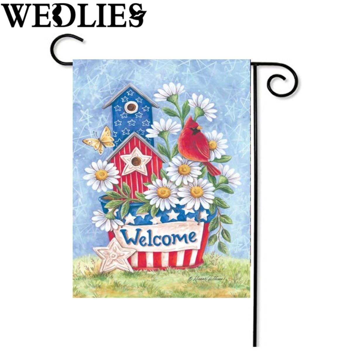 Blossom Daisies Flag Patriotic Cardinal Welcome Home Garden Flag Banner  Accessories Home Garden Decorative Craftwork 12.5