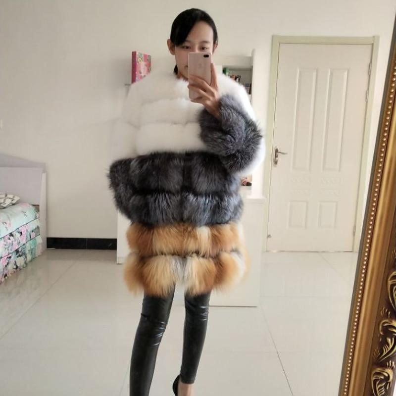 Nová délka 75 cm liščí kožich, dámský kožich, pravá lišková přírodní kožich pro udržení v teple