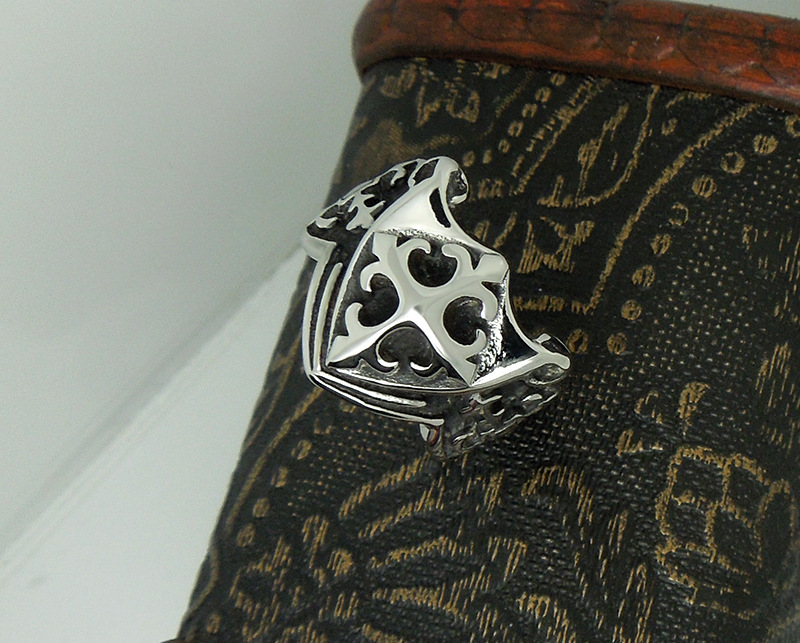 1pcs Europe fashion Polishing Cross pattern Scout flower Shield ring - Fashion Jewelry - Photo 6