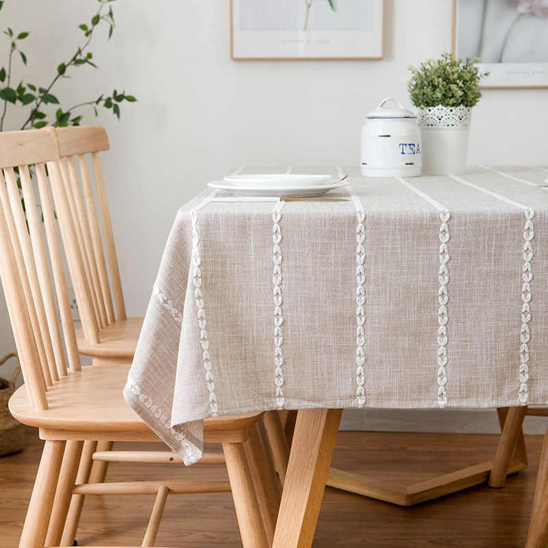 American Country Style Waterproof Table Cloth Square Type Kitchen Table  Dining Table Cover Strip Embroidery Home Decoration