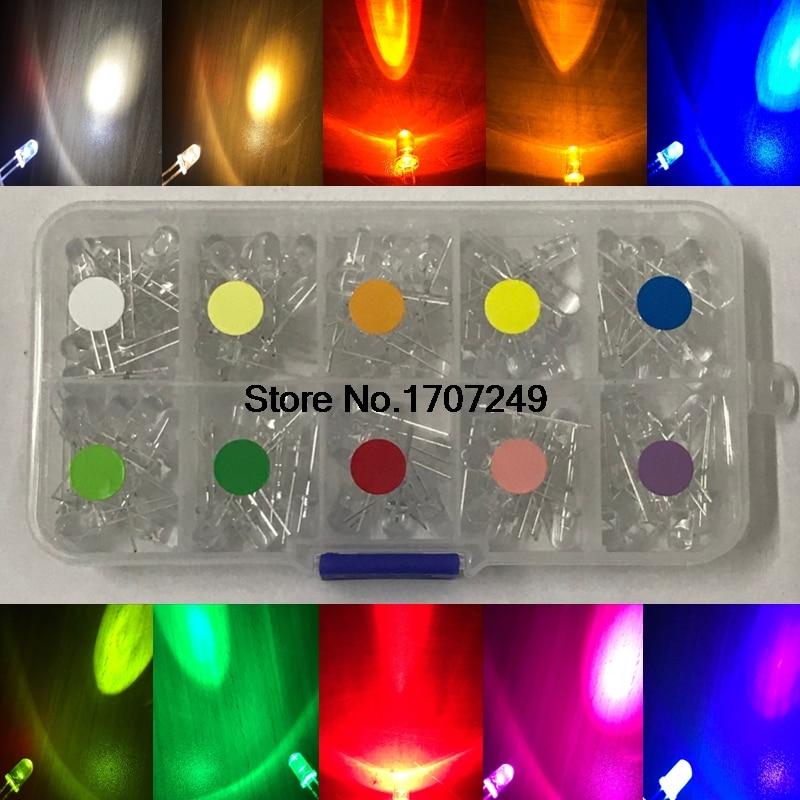 100PCS 5mm LED Diode F5 led lamp beads Kit White Warm White Green Red Blue Purple Yellow Orange Pink Purple LED Color mixing Kit f5 5mm led blue light emitters set white 5 pcs