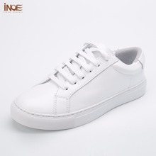 INOE 2017 new fashion style mans spring autumn casual shoes for men genuine cow leather sneakers white loafers driving car shoes
