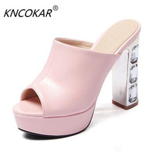 Sandals Sexy Thick High Heels Slippers Peep Toe Fashion Platform Women Summer Shoes Summer Woman Flip Flops sy