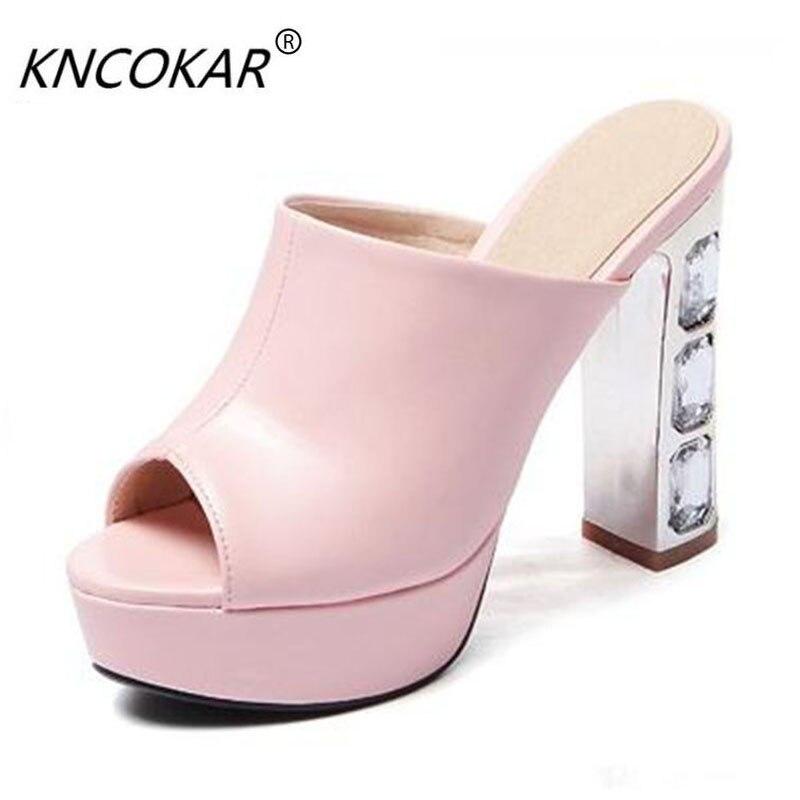 Sandales Sexy épais talons hauts pantoufles Peep Toe mode plate-forme femmes chaussures d'été femme tongs sy