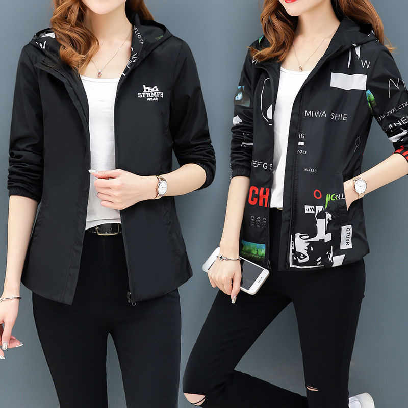 Mit Kapuze Streetwear Gedruckt jacke frauen Und Kausalen windjacke Grund Jacken 2019 Neue Reversible baseball Reißverschlüsse jacke 4XL