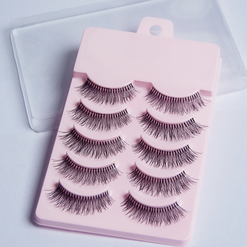 5 Pairs Makeup 3D False Eyelashes Gorgeous Soft Long Cross Eye Lashes Fake Lash Extension Make up Beauty Tool A21-Pink image