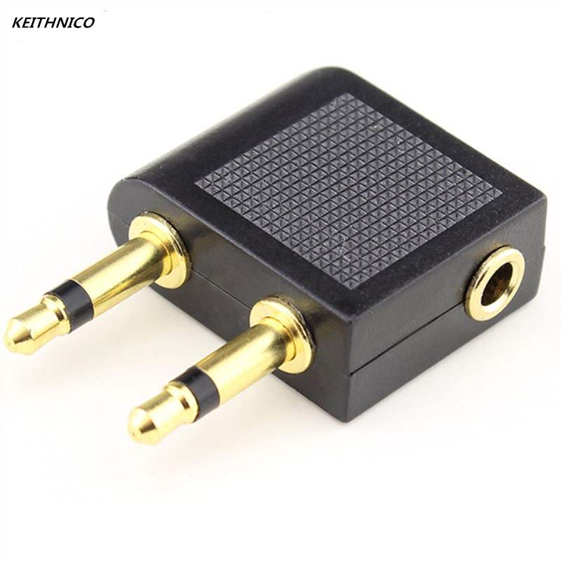 2Pcs Stereo Gold-plated jack Airline Earphone Travel audio Converter Adapter for Airplane headphone Tool adaptor Accessories image