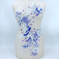 1Piece Lace Appliques Delicate Embroidery Collar Dance Dress Decoration Pearls Beaded Lace Applique