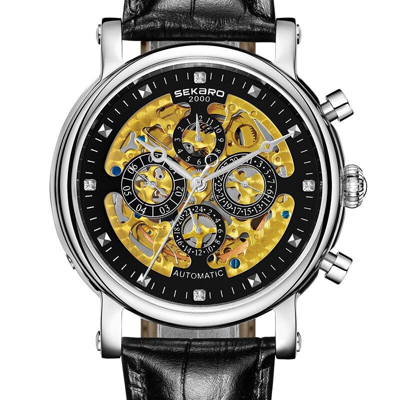 все цены на SEKARO 8068 Switzerland watches men luxury brand skeleton automatic mechanical Tradition wristwatch fashion waterproof Calfskin