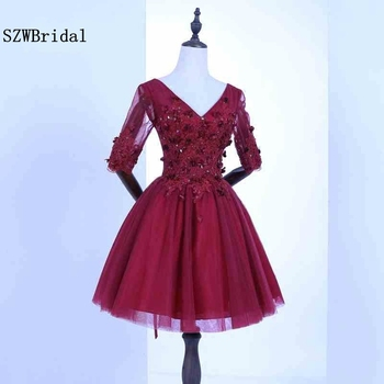 New Arrival V Neck Half sleeve burgundy Short evening dress 2020 Lace beaded Formal dress to Party avondjurken gala jurken