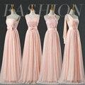Corar Vestidos de Dama de honra Até O Chão Da Dama de honra da Cabeçada Do Laço Rosa Pálido Vestidos de Baile Barato Menos de 30 Tamanho Livre Vestido De Festa