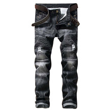 Mens Casual Elastic Ripped Drape Denim Hip Hop Slim Fit Distressed Biker Jeans Pants Black Straight Pencil Trousers Multi Zipper
