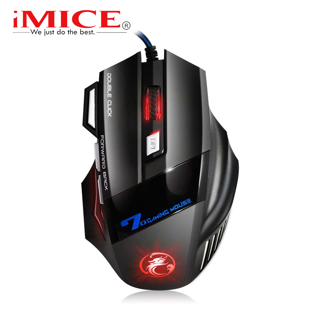 Wired Gaming Mouse 5500DPI Adjustable 7 Buttons Computer Mouses USB LED Optical Mouse Gamer for Laptop PC X7 Game Mouse sunsonny t m30 usb wired 6 button 600 1000 1600dpi adjustable led gaming mouse golden red