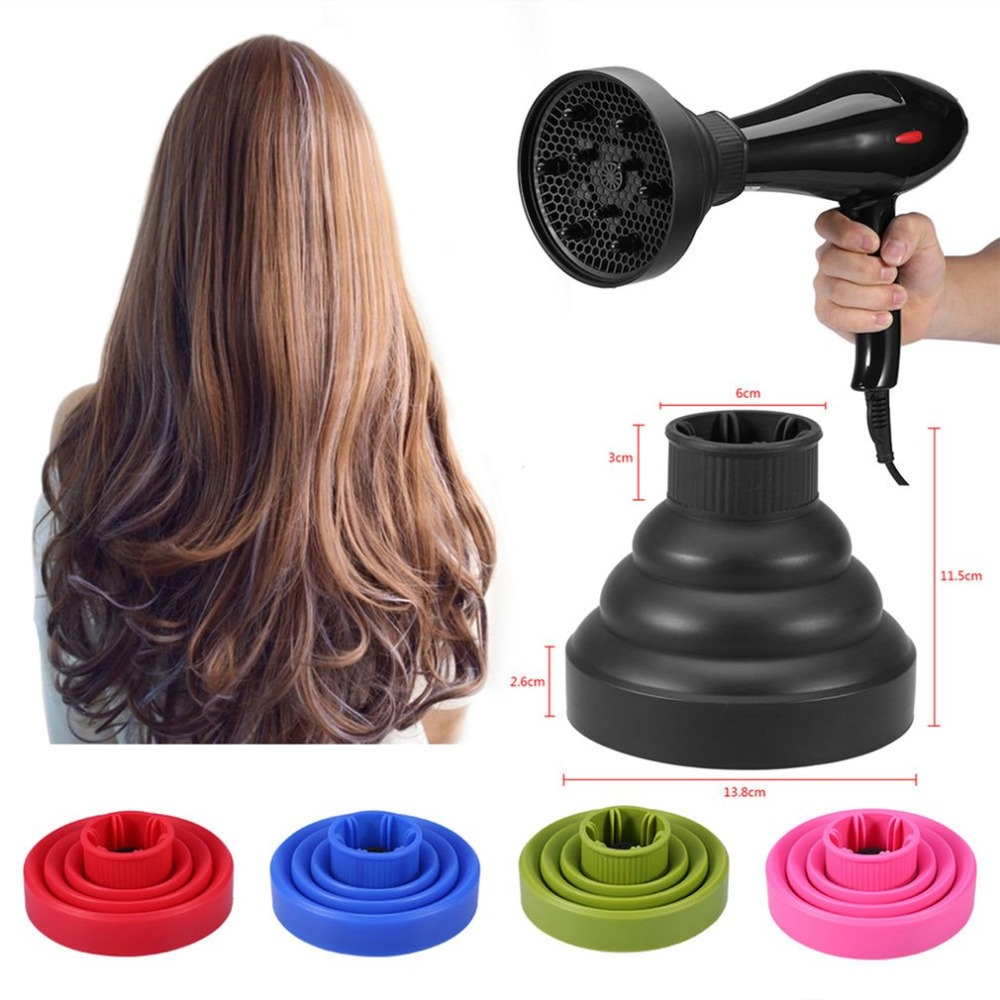 Portable Universal Travel Folding Silicone Hair Dryer Blower Hood Diffuser Hairdresser Tool Telescopic Dryer Hood Hair Drying silicone universal hair dryer diffuser blower hairdressing salon curly hair dryer folding diffuser cover 5u0207