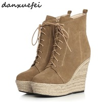 Women S Genuine Suede Leather Lace Up Wedge Platform Ankle Boots Brand Designer Comfortable Punk Short