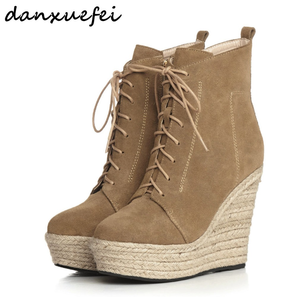 Womens Genuine Suede Leather Lace-up Wedge Platform Ankle Boots Brand Designer Comfortable Punk Short Booties Shoes for Women