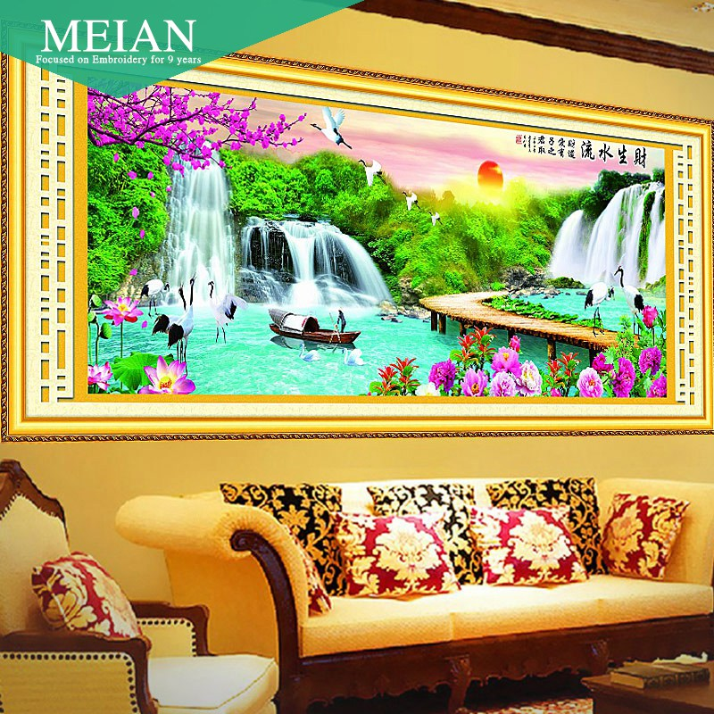 Meian, new 5D waterfall 2 meters water making cross stitch new room series scenic landscape painting home decoration needlework