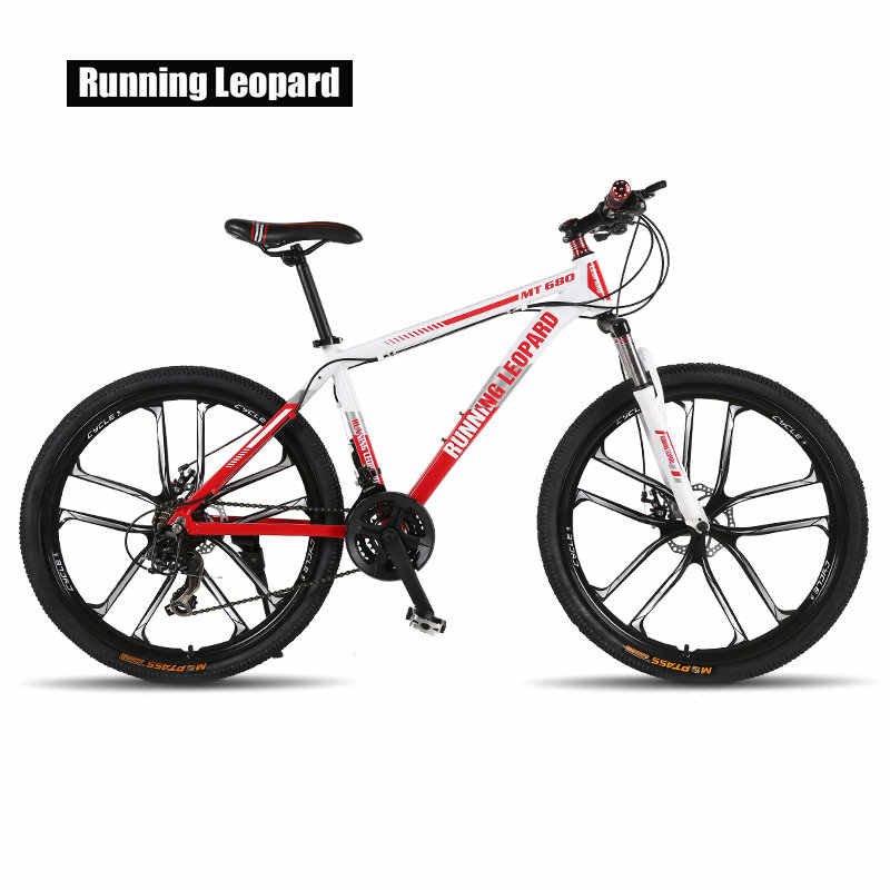 Бегущий Леопардовый горный велосипед 26 дюймов 21/24 Скоростные Велосипеды рама из алюминиевого сплава горный велосипед механический двойной дисковый тормоз велосипед
