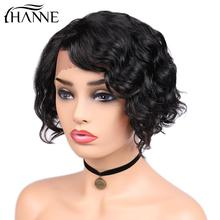 Human Hair Wigs Short Water Wave Lace Front Wigs Side Part Wavy Brazilian Remy Hair Wigs for Black Women Glueless 8 inch цена 2017