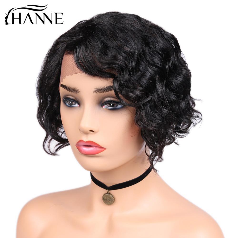 Perruques de cheveux humains courte vague d'eau avant de lacet perruques partie latérale ondulée brésilienne Remy perruques de cheveux pour les femmes noires sans colle 8 pouces