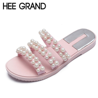 HEE GRAND Faux Pearl Slippers 2018 Summer Sweet Slides Casual Beach Shoes Woman Outside Slip On