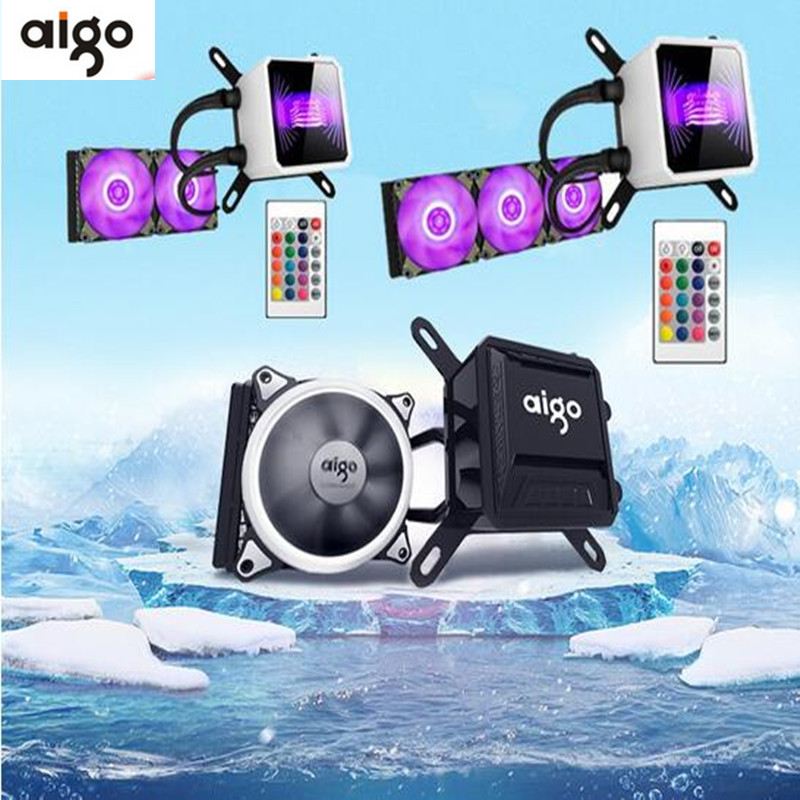 Aigo T240 pc case water cooling RGB computer fan CPU integrated water cooling Cooler For LGA 775/115x/AM2/AM3/AM4 Free shipping 1u server computer copper radiator cooler cooling heatsink for intel lga 2011 active cooling