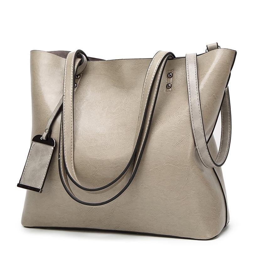 European And American Style Top Handle Bags Retro Oil Leather Large Capacity Shoulder Bag Designer Handbags