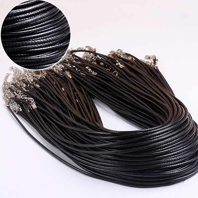 NK697 1 sztuka hurtownia 2.0mm gorąca Collares nowy mężczyźni czarny PU Leather Cord naszyjnik dla kobiet DIY łańcuch biżuteria oświadczenie prezent