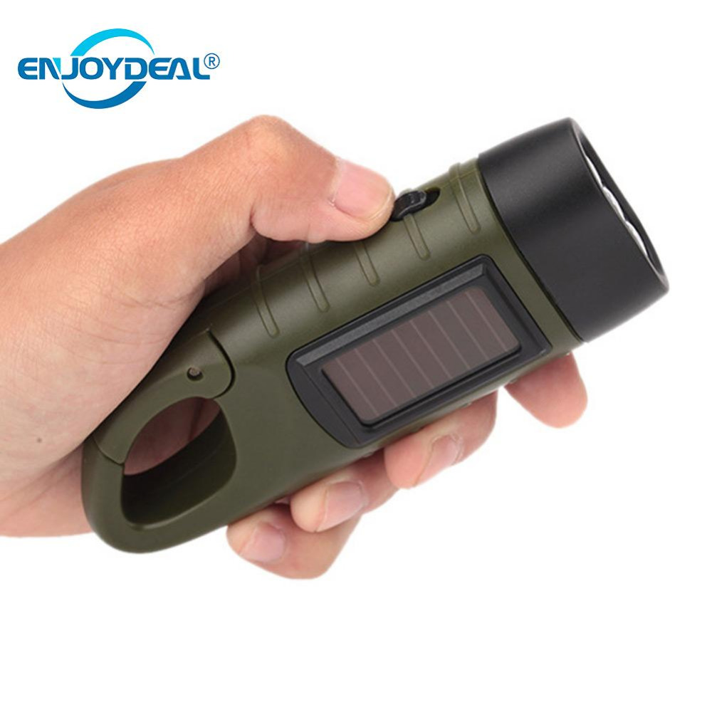 Solar Powered Flashlight Solar Hand Crank Dynamo Rechargeable LED Emergency Torch Outdoor Camping Mountaineering Self Defense portable solar power torch lantern for outdoor camping mountaineering tent light hand crank dynamo led flashlight professional