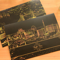 1pc Hand Scraped World Urban Golden Decompression Night Scraping Paint Scratch Night View Vintage Postcards
