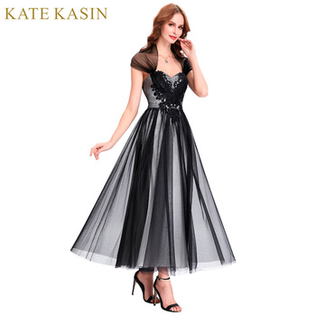 Kate kasin ankle length black evening dresses with cape long tulle mother of the bride dresses.jpg 350x350