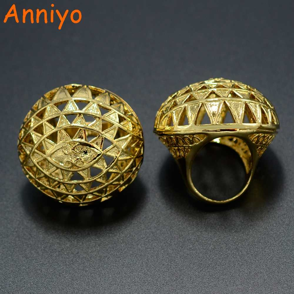 Anniyo (одна штука) Африканское большое кольцо эфиопское для женщин золотого цвета свадебные ювелирные изделия Женское кольцо Кенийский нигерийский бразильский КОНПО #045506